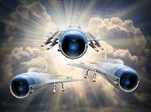 Speedy jets on the sky. Retro style picture on transportation theme.