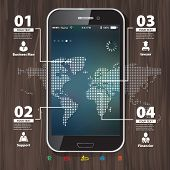 Template For Infographic With Mobile Phone With Blurred Background And World Map