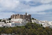 stock photo of revelation  - The Chora and Saint John Theologos monastery at Patmos island in Greece - JPG