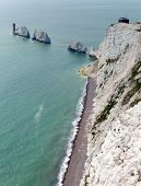 The Needles Isle of Wight landmark by Alum Bay in portrait