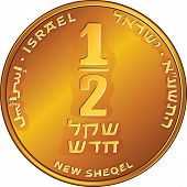 Vector Gold Israeli Money Half-shekel Coin