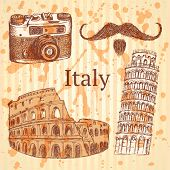 Sketch Italy Set, Vector Vintage Background