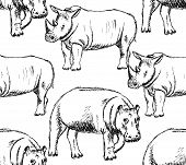 Sketch Hippo And Rhino, Vector Seamless Pattern