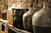 wine cellar and glass carboys