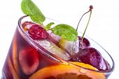stock photo of sangria  - Sangria with citrus and other fruit on a white background - JPG