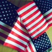 Instagram filtered image of three American Flags for 4th of July, Memorial Day, Flag Day