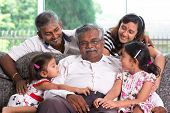 picture of grandpa  - Portrait of multi generations Indian family at home - JPG