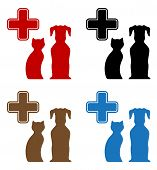 set colorful veterinary care icon