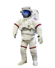 pic of spaceman  - nasa astronaut pressure suit with galaxi space reflection on mask isolated white background - JPG