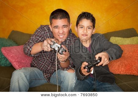 poster of Hispanic Man And Boy Playing Video Game