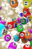 Gold Christmas background with falling 3D bingo balls