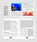 Set of layouts. Open magazine, vector Illustration.