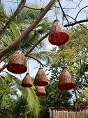 wicker lights on the tree