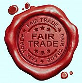 fair trade product label red wax seal stamp