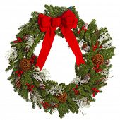 Christmas crown isolated white background. Xmas decoration wreath