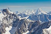 Landscape Of High Alps Mountains In The Mont Blanc Massif