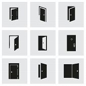 picture of front-entry  - Vector door icon set on grey background - JPG