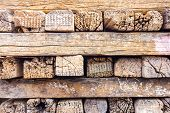 Old Stack Of Railroad Ties In Thailand.