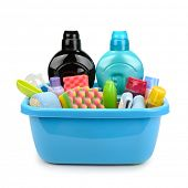 Hygiene products and detergents in basin isolated on white