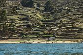 Shoreline of Isla del Sol on Lake Titicaca Bolivia