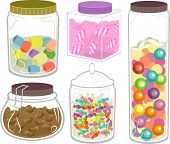 Illustration Featuring a Wide Variety of Candies in Fancy Bottles and Jars
