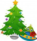 Illustration Featuring an Alien in a Spaceship Placing Gifts Under a Christmas Tree