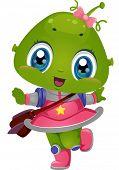 Illustration Featuring an Alien Girl Wearing a School Bag