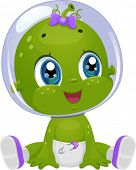Illustration Featuring a Female Baby Alien Looking to Her Right