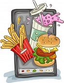 Illustration Featuring Common Fast Food Snacks and a Mobile Device