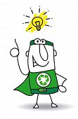 Good idea Super Recycling Hero. Super Recycling Hero have a good idea ! He can help your company to recycle your rubbish !