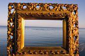 Vintage Golden Picture Frame And Sea Landscape