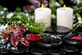 Winter Spa Still Life Of Evergreen Branches, Red Leaves With Drops, Snow,  Candles On Zen Basalt Sto