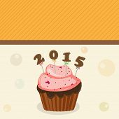 Happy New Year 2015 greeting card decorated with delicious cup cake on stylish background.