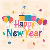 Colorful text Happy New Year with gift boxes and balloons on flowers decorated stylish background.