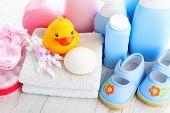 baby accessories on white wood - children