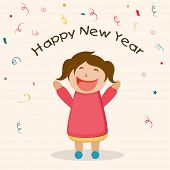 Greeting card with cute little girl enjoying on the occasion of Happy New Year 2015.