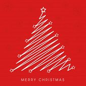 Merry Christmas celebration with creative stylish X-mas tree on snowflake decorated red background.