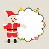 Cute cartoon of a Santa Claus showing blank stylish frame decorated with X-mas ornaments for Merry Christmas and other occasion celebrations.