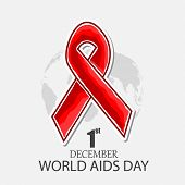 1st December World Aids Day concept with red ribbon of aids awareness on grey background.