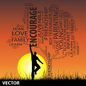 Vector concept or conceptual black education text word cloud or tag cloud as tree and grass, a man jumping, on sunset with sun background