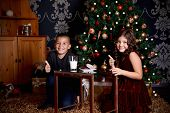 Sweet Little Children At Christmas