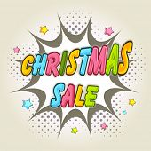 Merry Christmas sale poster decorated with colorful text over explosion art on stylish background.
