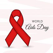 World Aids Day concept with red ribbon of aids awareness and text on stylish background.