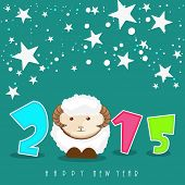 Happy New Year 2015 celebration poster with colorful text and kiddish sheep on stars decorated green background.
