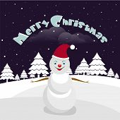 Beautiful poster for Merry Christmas with cute snowman, snow covered X-mas tree and stylish text on winter night background.