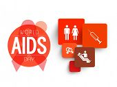World Aids Day concept with medical symbols on white background.
