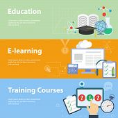 stock photo of online education  - Flat design vector illustration concepts for education - JPG