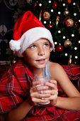 Cute Little Boy Drinking Milk