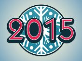 Stylish text 2015 on snowflake decorated blue background for Happy New Year celebrations.