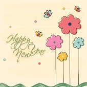 Happy New Year celebration greeting card with stylish text, flowers and butterfly on beige background.